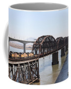 Union Pacific Locomotive Trains Riding Atop The Old Benicia-martinez Train Bridge . 5d18849 Coffee Mug