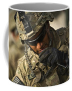 U.s. Army Soldier Communicates Coffee Mug