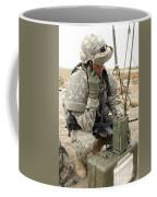 U.s. Army Soldier Performs A Radio Coffee Mug by Stocktrek Images