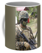 U.s. Marine Communicates Via Radio Coffee Mug
