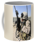 U.s. Marine Communicates With Fellow Coffee Mug