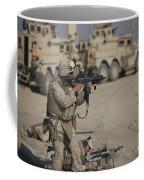 U.s. Marine Fires A G36k Carbine Coffee Mug