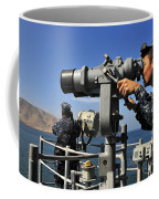 U.s. Navy Sailors Observe The Coastline Coffee Mug