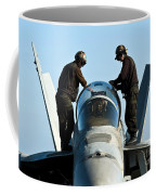 U.s. Navy Sailors Wipe Down The Canopy Coffee Mug