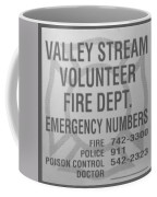 Valley Stream Fire Department In Black And White Coffee Mug