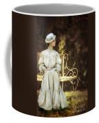Victorian Lady On Garden Bench Coffee Mug