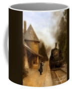 Victorian Woman At Train Station Coffee Mug