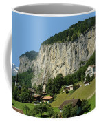 View Of Greenery And Waterfalls On A Swiss Cliff Coffee Mug