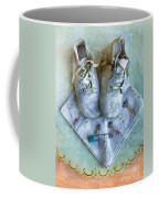 Vintage Baby Shoes And Diaper Pin On Handkercheif Coffee Mug