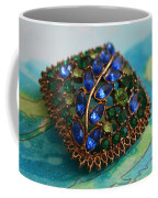 Vintage Blue And Green Rhinestone Brooch On Watercolor Coffee Mug