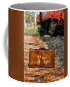 Vintage Suitcase By Train Coffee Mug