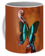 Violin With Green Black Butterfly Coffee Mug