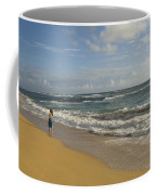 Walking In The Water At  Anahola Beach Coffee Mug