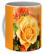 Water Color Yellow Rose With Orange Flower Accents Coffee Mug