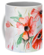 Watercolor Poppy Flower  Coffee Mug