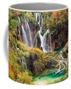 Waterfalls In Autumn Scenery Coffee Mug