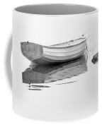 White Boat Anchored On A Foggy Morning In Maine Coffee Mug