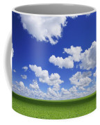 White Clouds In The Sky And Green Meadow Coffee Mug