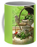 White Crowned Sparrows On The Flower Pot  Coffee Mug