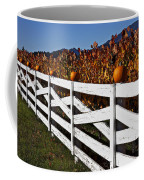 White Fence With Pumpkins Coffee Mug