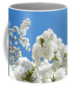 White Floral Blossoms Art Prints Spring Tree Blue Sky Coffee Mug