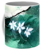 White Flowers Coffee Mug by Anil Nene