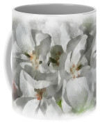 White Geraniums - Watercolor Coffee Mug
