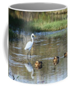 White Heron And Baby Ducks Coffee Mug