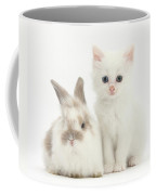 White Kitten And Baby Rabbit Coffee Mug