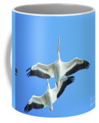 White Pelicans In Flight Coffee Mug