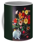 White Rabbit By Basket Of Flowers Coffee Mug