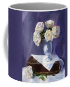 White Roses In A Silver Vase Coffee Mug by Jack Skinner