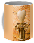 White Stone Heart On Pedestal Coffee Mug