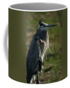 Wind Blown Great Blue Heron Coffee Mug