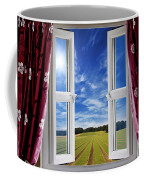 Window View Onto Arable Farmland Coffee Mug