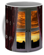 Window With Fiery Sky Coffee Mug