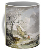 Winter Landscape With Men Snowballing An Old Woman Coffee Mug