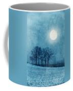 Winter Moon Over Farm Field Coffee Mug