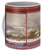 Winter Rocky Mountain Foothills Red Barn Picture Window Frame Ph Coffee Mug