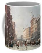 Winter Scene On Broadway Coffee Mug by American School