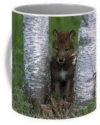 Wolf Pup Playing Peekaboo Coffee Mug