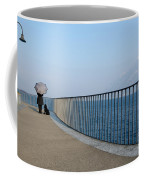 Woman And Her Dog On The Path Coffee Mug