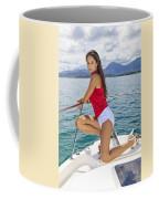 Woman Boating At Kaneohe Coffee Mug