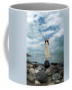 Woman By The Sea With Arms Reaching Up In Praise Coffee Mug