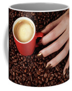 Woman Hand Holding A Cup Of Latte Coffee Mug