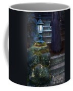 Woman In Dark Gown On Old Staircase Coffee Mug
