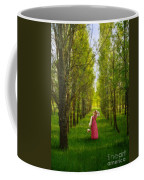 Woman In Vintage Pink Dress Walking Through Woods Coffee Mug
