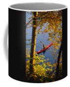 Woman Kayaking With Fall Foliage Coffee Mug
