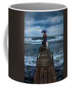 Woman On Dock In Storm Coffee Mug