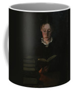 Woman Reading Coffee Mug by Signe Scheel